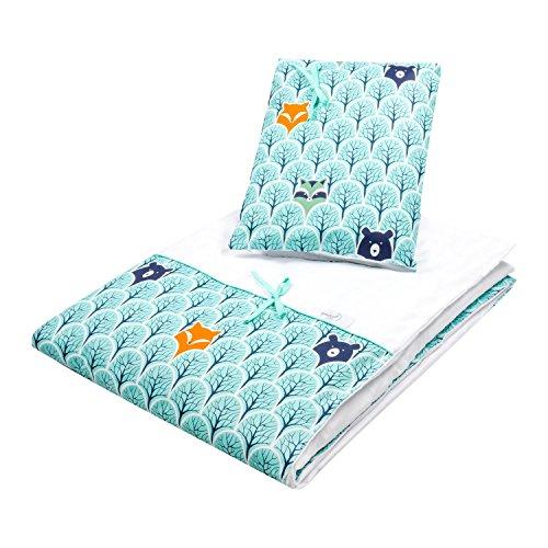Dkaren 2 teiliges Bettwäsche-Set aus 100% Baumwollsatin für Ihren Kleinen (40x60/100x135, Wald)