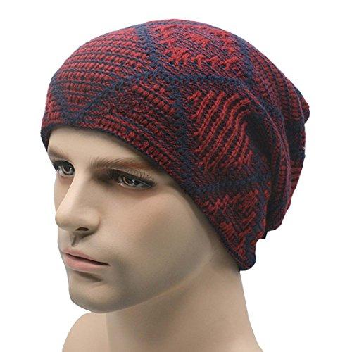 THENICE Bonnet d'Hiver Homme Knit Beanie Hat Ski Chapeau Bordeaux