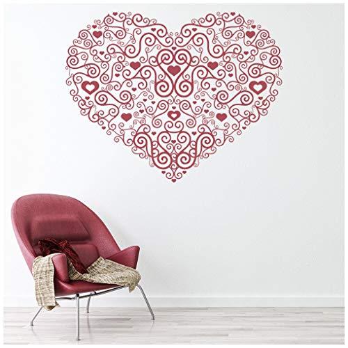 azutura Herzstück Spiral Liebe Herz Wandtattoo verfügbar in 5 Größen und 25 Farben Rose Rosa