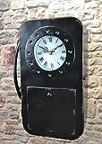 Livitat Schlüsselkasten Schlüsselschrank 35 cm hoch Metall Retro Vintage mit Uhr und Telefon LV5098 (Schwarz)