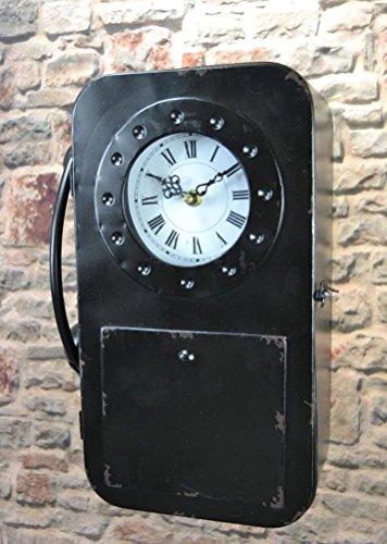 Schlüsselkasten Schlüsselschrank 35 cm hoch Metall Retro Vintage mit Uhr und Telefon LV5098 (Schwarz)