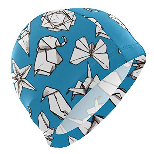 KIMIOE Schwimmhaube Badekappe Thousand Paper Craft Lycra 3D Ergonomic Design Swim Cap Swimming -