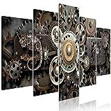 murando - Bilder Zahnrad Uhr 225x112 cm - Vlies Leinwandbild - 5 Teilig - Kunstdruck - Modern - Wandbilder XXL - Wanddekoration - Design - Wand Bild - Steampunk a-C-0103-b-m