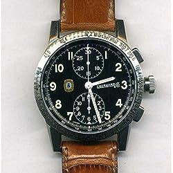 Clock Eberhard Tazio Nuvolari 31030Breaker quandrante Steel Black Leather Strap