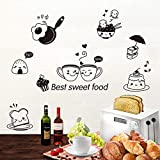 iTemer 1 set Pegatinas pared decorativas Stickers Vinilos decorativos pared dormitorio Decoracion pared Elegante y hermoso PVC Restaurante Nevera Comida occidental La cocina