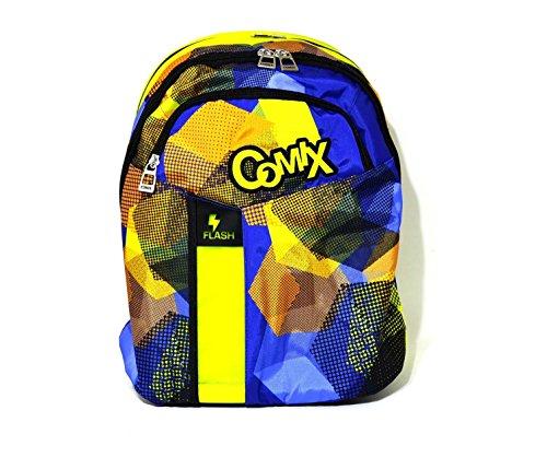 Zaino comix flash organizzato fantasia blu giallo arancio graffiti scuola new