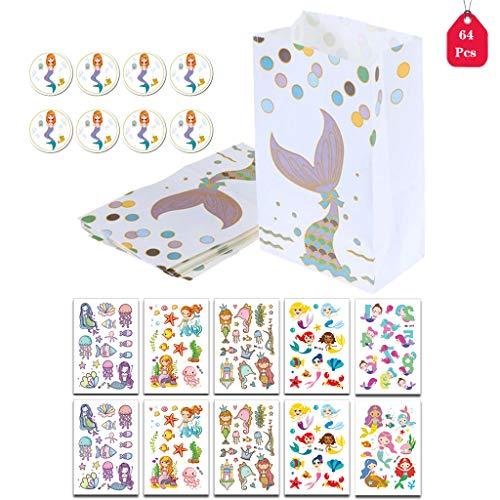 Amycute Papiertüten Candy, 64 Stück Papiertüten Geschenktüten Papier Süßigkeiten Papiertüten und Meerjungfrau Sticker für Meerjungfrau unter dem Meer Geburtstag Party Baby Shower Dekorationen. (Halloween-süßigkeiten Geburtstag Für Party)