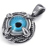 mendino monocular hombre tridimensional, color azul colgante de acero inoxidable con cadena de 22cm