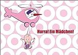 Super süße Mädchen Babykarte/Glückwunschkarte zur Geburt mit Storch im Helikopter und Baby Girl: Hurra! Ein Mädchen! • auch zum direkt Versenden mit ihrem persönlichen Text als Einleger.