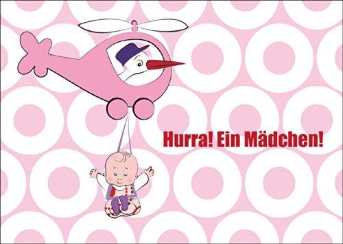 Super süße Mädchen Babykarte/ Glückwunschkarte zur Geburt mit Storch im Helikopter und Baby Girl: Hurra! Ein Mädchen! • auch zum direkt Versenden mit ihrem persönlichen Text als Einleger.