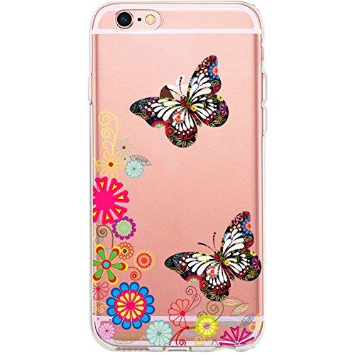 GIRLSCASES® | iPhone 6-6S Hülle | Im Fee Motiv Muster | in schwarz | Fashion Case transparente Schutzhülle aus Silikon Schmetterlinge 4