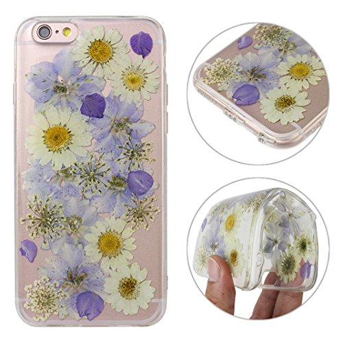 iPhone 6S Silikon Hülle, iPhone 6 Silikon Hülle Transparent, Transparent Echt Blumen Design, Moon mood® Ultra Slim Thin Hülle Handytasche Schutzhülle für Apple iPhone 6S / iPhone 6 4.7 Zoll Weich Sili Echt Blumen 9