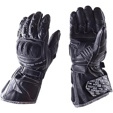 Guanti moto : VIPER FURY TEK Premium Guanti di Pelle Sportivi Guanto Moto Impermeabile Touring guanti invernali (L) - Pelle Moto Guanto