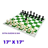 Wigano Roll-Up Vinyl Tournament Chess Set with Two Extra Queens, Green