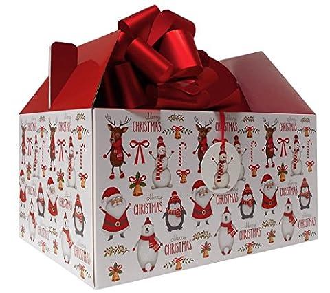 Giant Gable Box Geschenk-Set mit Seidenpapier, Pull Schleife und Geschenkanhänger–Weihnachten Santa Schneemann (Weihnachten Gable Boxen)