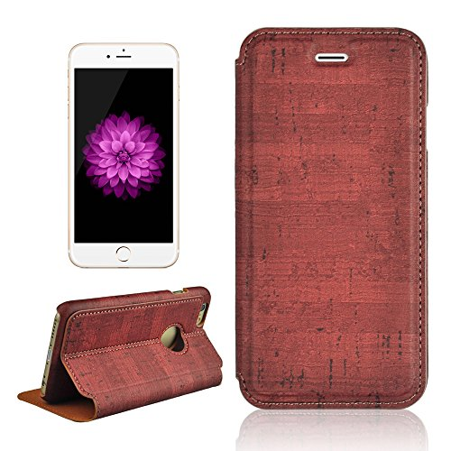 MAXFE.CO Lederhülle Leder Tasche Case Cover für iPhone 6 6S (4,7 Zoll) Hülle PU Schutz Etui Schale Rot Muster Design Backcover Flip Cover Wallet Hardcase im Bookstyle mit Standfunktion Karteneinschub  Rot