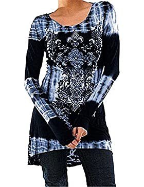 Hibote Blusas Mujeres Vintage Tamaño Más Camisetas Góticas Camisas Largas Estampadas Camisetas Manga Larga Cuello...