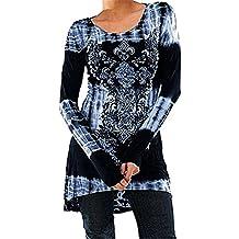 Blusas Mujeres Vintage Tamaño Más Camisetas Góticas Camisas Largas Estampadas Camisetas Manga Larga Cuello Redondo Vestido Camisetas Mini Vestido A-linear Casual Rosado Azul Gris Hibote