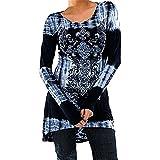 Hibote Übergröße Damen Vintage Blusen Gothic T-Shirts Gedruckt Lange Hemden Langarmshirts Rundhals Hemd Kleid Minikleid A-Linie Abnehmen Frühling Herbst Winter Lässig Täglich Blau Grau Rosa