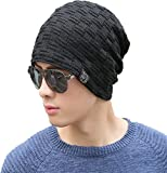 #4: iSweven 1069 Black imported Fancy beautifully wooven expandable very soft beanie cap hat for Men Women Girls