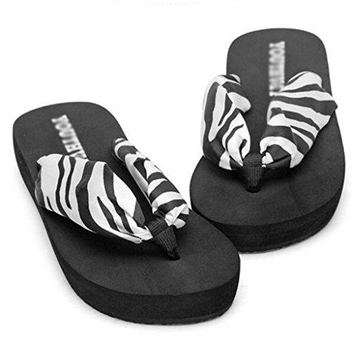 Yiiquan Femmes Tongs Compensées Flip Flop Sandales de Eté Chaussons de Plage Zèbre