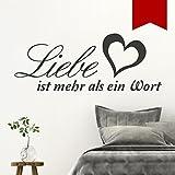 Wandkings Wandtattoo 'Liebe ist mehr als ein Wort (mit Herz)' 50 x 20 cm rot - erhältlich in 33 Farben