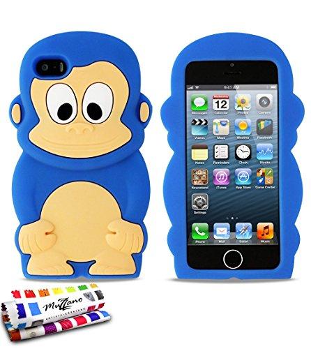 Flip-Case APPLE IPHONE 5 [Le Jelly Glass Premium] [Bonbonrosa] von MUZZANO + STIFT und MICROFASERTUCH MUZZANO® GRATIS - Das ULTIMATIVE, ELEGANTE UND LANGLEBIGE Schutz-Case für Ihr APPLE IPHONE 5 Dunkelblau