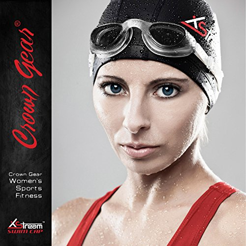 Kurze Crown Caps (XSTREAM-Lycra Badekappe für Frauen, sowohl für lange und kurze Haar, schwarz)