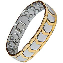 Aarogyam Energy Jewellery Golden Magnetic Therapy Double Tone Plating Metal Chain Bracelet For Men
