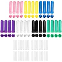 Vococal - 28 Piezas de Colores Surtidos de Aceite Esencial en Blanco Tubos Nasales Inhalador con Tapa y Mechas