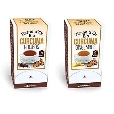 Duo de Tisanes d'or biologiques au Curcuma, Gingembre et Rooibos - 40 sachets