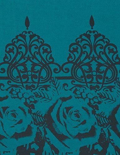 Lotusmile - Top à manches longues - Tunique - À Fleurs - Col Rond - Femme Cyan foncé
