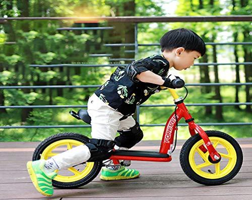 12 Pollici Equilibrio Bicicletta Bambini con Poggiapiedi 2-6 Anni Ragazze Ragazzi con Pneumatici Gonfiabili Freno Sedile Maniglia Regolabili Telaio Acciaio Carbonio Push Bike Leggera, Red