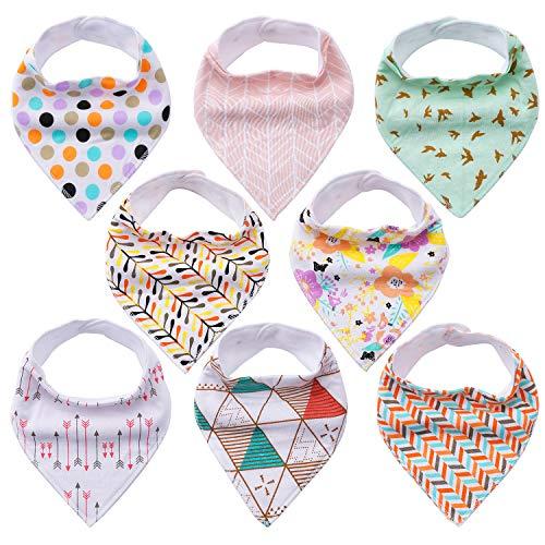 Baby Dreieckstücher 8er Saugfähig Weich Spucktuch Baumwolle Halstücher Set mit Druckknöpfen für Baby Mädchen Kleinkinder von YOOFOSS