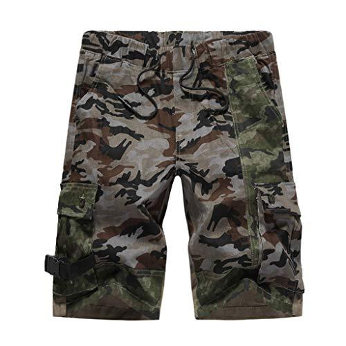 GreatestPAK Herren Cargo Shorts Sommer Lässig Lose Tarnungsdruck Patchwork Shorts Sporthosen,Grau,EU:S(Tag:32)
