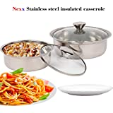Nexx Meal Serve Stainless Steel Casserole Set With Glass Lid, Set Of 2,Silver(500ml, 1 LTR)