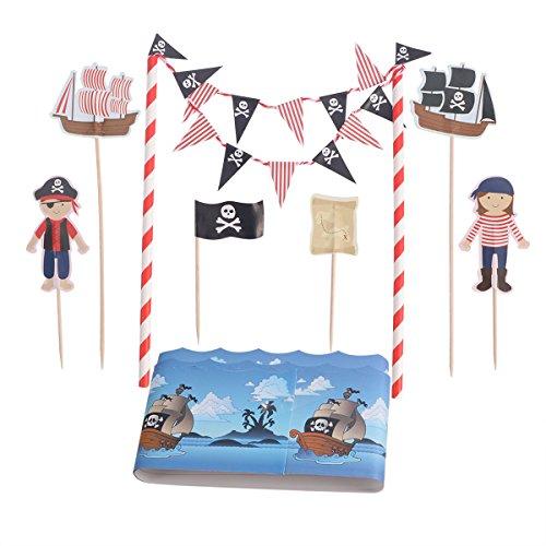 Tinksky Piratenkuchen Bunting Toppers Flag Banner Picks Wrap Dekorieren Kit für Kinder Kinder Geburtstage Gefälligkeiten ()