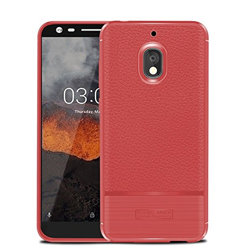 CruzerLite Nokia 2.1 Custodia, Flexible Slim Case with Leather Texture Grip And Shock Absorption for Nokia 2.1 (Red)