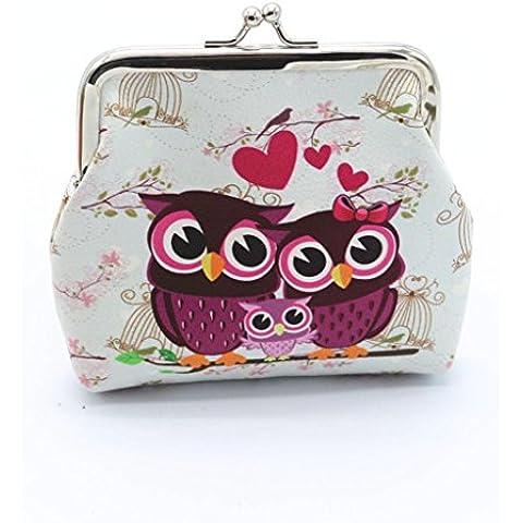 Anglewolf Donne Retro Owl Stile Di Stampa Portafoglio Della Borsa Della Borsa Vintage