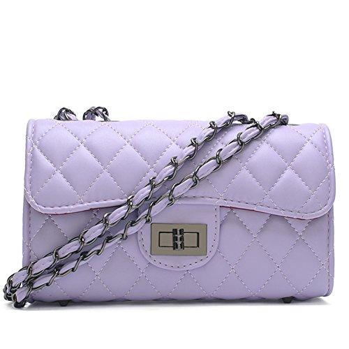 fanhappygo Fashion Retro Leder Damen elegant gesteppte kleinen duftenden Handtaschen Umschlag Schulterbeutel Umhängetaschen lila