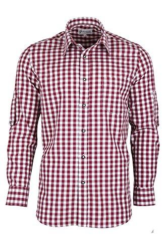 (Trachtenhemd kariert in 6 Farben Gr. XS-XXXL mit Krempelärmeln Deutscher Hersteller (M, bordeaux))
