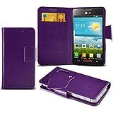 (Purple) LG Optimus L4 II E440 Caso fino estupendo Faux Leather succión Pad Monedero piel de la cubierta con el crédito / débito ranuras para tarjetasBy Spyrox