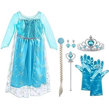 7fc7ce9799fc Vicloon Elsa Frozen Costume,Set da Principessa Elsa Corona Bacchetta Guanti  Treccia,Ragazze Elsa Principessa delle Neve Abiti Partito Vestito Costume