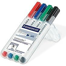 Staedtler 341 WP4 Whiteboard-Marker Lumocolor compact (trocken und rückstandsfrei abwischbar von Whiteboards, Universalspitze ca. 1-2 mm Linienbreite, hohe Qualität Made in Germany, Set mit 4 Farben)