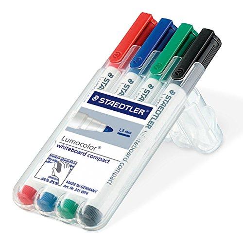 Preisvergleich Produktbild Staedtler Lumocolor 341 WP4 Whiteboard-Marker, compact, trocken und rückstandsfrei abwischbar von Whiteboards, Universalspitze ca. 1-2 mm Linienbreite, hohe Qualität, Set mit 4 Farben