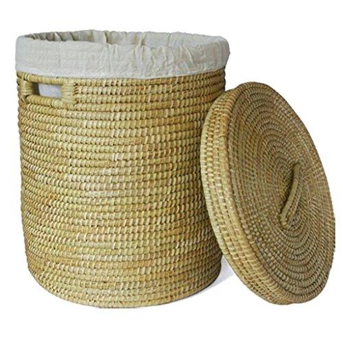 Gruener Handel Wäschekorb mit Deckel Ø 48cm | Kaisagras | Handarbeit | Fair Trade