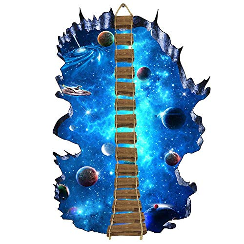 3d Stickers Environmentally Friendly Removable Wall Broken Starry Wallpaper Creative Art Mural Decal Home Decor Decoration Visual Star Sky Ball Suspension Bridge Living Room