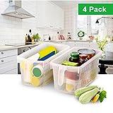 Kurtzy 4 tlgs Kunststoff Aufbewahrungskorb mit Henkel - Lebensmittel Behälter - Kühlschrank Organizer - Speisekammer Boxen - Aufbewahrungskiste zum Organisieren von Regalen, Küche und mehr