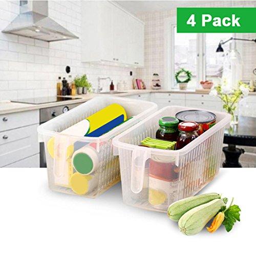 Kurtzy 4 tlgs Kunststoff Aufbewahrungskorb mit Henkel - Lebensmittel Behälter - Kühlschrank Organizer - Speisekammer Boxen - Aufbewahrungskiste zum Organisieren von Regalen, Küche und mehr (Speisekammer-organizer-körbe)