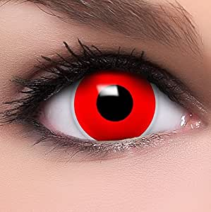 """Farbige Kontaktlinsen """"Red Zombie"""" in rot, weich ohne Stärke, 2er Pack inkl. Behälter und 10ml Kombilösung - Top-Markenqualität, angenehm zu tragen und perfekt zu Halloween oder Karneval"""